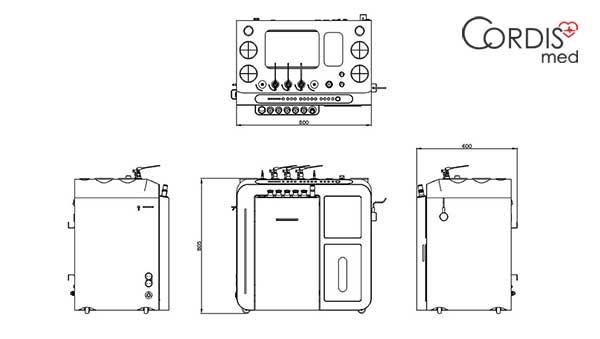Схема (чертеж) и габариты ЛОР-комбайна Chammed XU3